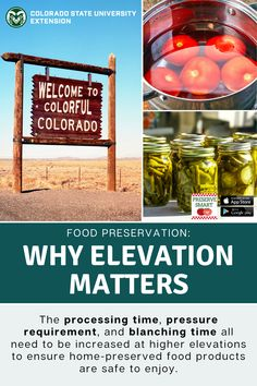 Visit the link to determine your elevation and to learn more about how elevation impacts food preservation. Colorado State University, Play Food, Food Safety, Preserving Food, Preserves, Nutrition, Link, Health, Preserve