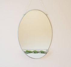 Large oval mirror & terrarium  Modern home decoration  Large