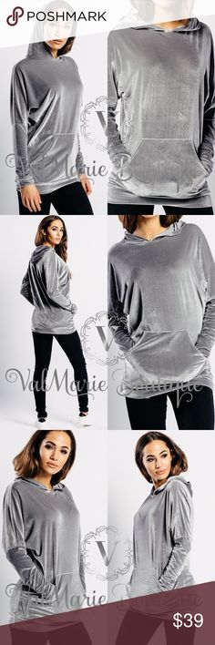 GORGEOUS Silver Grey Velvet Hoodie Oh my gosh how stunningly gorgeous is this hoodie? What more could you ask for? Gorgeous silver grey velvet hoodie. Perfect for this upcoming season. Made of 95% polyester, 5% spandex. Not heavy so you can layer. Perfect for lounging in style. Get them now. S(0-2) M(4-6) L(8-10) ValMarie Tops Sweatshirts & Hoodies