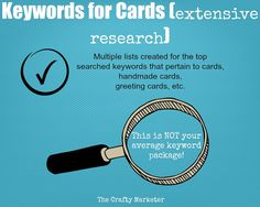 Cards/Handmade Cards Keywords Package How To by TheCraftyMarketer $5.00