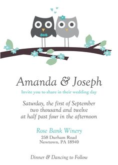 Well, I don't know who Joseph is... BUT I LOVE THE OWLS ON THESE INVITES!!!!!!!! <3<3<3<3<3