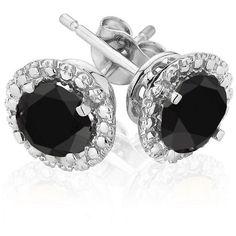 12a350a1e7 Reeds Black Diamond Halo White Gold Earrings Black Diamond Earrings