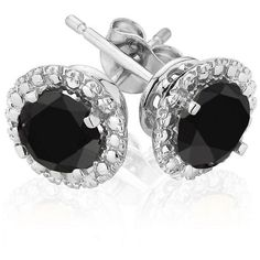 Reeds Black Diamond Halo White Gold Earrings 3ctw ($799) ❤ liked on Polyvore