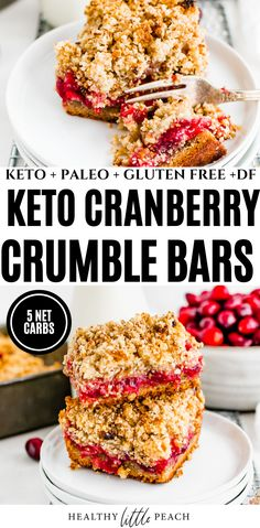 A sweet dessert bar made with a golden crust, filled with a sticky cranberry filling and topped with a sweet pecan and almond topping. Only 5 NET CARBS per serving! #ketodesserts #ketorecipes #paleo #paleodesserts #paleorecipes #dairyfreedesserts #glutenfreetreats #healthychristmasdesserts #christmasrecipes