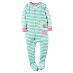 Baby Girl Carter's Striped Animal Applique Footed Pajamas