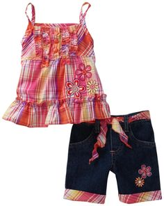 Young Hearts Baby-Girls Infant Plaid Woven Tunic With Matching Denim Bermuda Short Set
