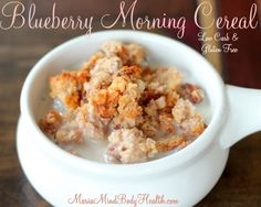 low carb cereal, Blueberry Morning Cereal Start your day off the right way with this Blueberry Morni Cereal Keto, Sugar Free Cereal, Cereal Sin Gluten, Low Carb Cereal, Healthy Cereal, Healthy Desserts, Healthy Recipes, Blueberry Breakfast, Low Carb