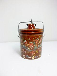 Brown Crockery Stoneware Jar Cheese Jar Storage by FolkArtByNancy
