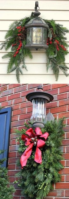 Gorgeous Outdoor Christmas swag! 32 beautiful Christmas porches & front doors: how to create gorgeous and playful DIY outdoor Christmas decorations such as garlands, wreaths, lights, ornaments, Christmas pots, and more! - A Piece of Rainbow