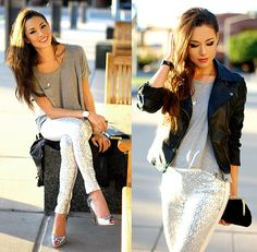 Get this look: http://lb.nu/look/4238263  More looks by Jessica R.: http://lb.nu/hapatime  Items in this look:  Daily Look Sequin Pants, Choies Faux Leather Jacket, Chicnova Gray Shirt, Sam Edelman Spike Lorissa Heels