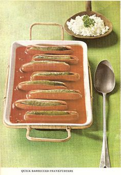 Pickle Stuffed Wieners in BBQ Sauce. And a side of what looks like cottage cheese. No thanks--I already ate. Retro Recipes, Old Recipes, Vintage Recipes, Vintage Food, Vintage Cooking, Gross Food, Weird Food, Scary Food, Kitsch