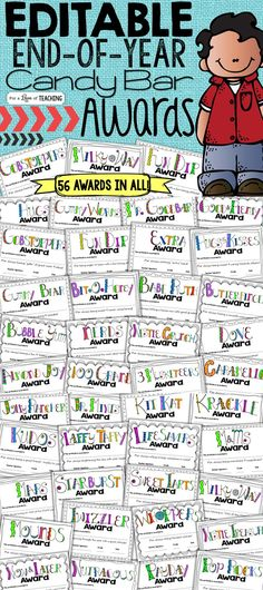 56 EDITABLE Candy Bar Awards for students! Perfect for the end of the year!