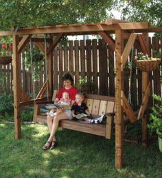 Love the frame! Backyard swing.