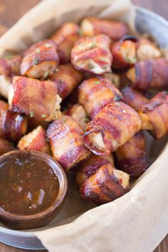 Bacon Wrapped Chicken Bites With Apricot Pepper Dipping Sauce - the perfect combination of sweet and spicy. You might want to double the recipe because they are gone in a flash!