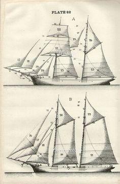 Antike Grafik, SAILING SHIPS, Diagramm 1890 Wand Kunst Vintage s/w 50er Jahre Lithographie Abbildung Boote Schiff nautische Segel
