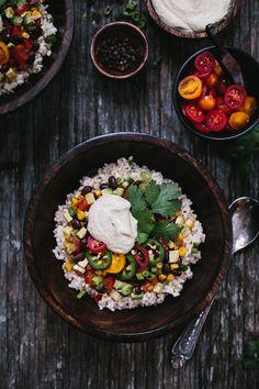 Mexican Burrito Bowl with Cashew Chipotle Cream Sauce I A healthier twist on the classic Mexican burrito recipe.