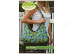 Betz White Olive Swing Bag Pattern- Make New or Make Do Sewing Pattern. A stylish and versatile bag that is fully reversible, so its like 2 bags in one! Great slouch shape with an inverted box pleat in the center, and a button and loop closure. Make it with new fabrics in your favorite complementary prints, or pair vintage pillowcases together for a retro look, shown with contrasting binding. Includes instructions, diageams and paper pattern for a coordinating sunglasses case and purse. Fi…