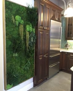 Kuchnia i zielony obraz z mchu.