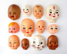 Things Organized Neatly - like creepy little doll heads. Doll Head, Doll Face, Memento Mori, Kitsch, Paper Dolls, Art Dolls, Helloween Party, Things Organized Neatly, Displaying Collections
