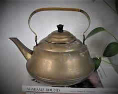 Vintage Brass TEA KETTLE  / Shabby  Brass TEAPOT Brass Kettle Perfect for Watering Can or Home Decor
