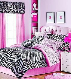 Black and white zebra with pink bed set