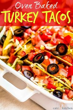 Oven-Baked-Turkey-Tacos Quick and easy weeknight dinner that can be served all at the table. #tacotuesday #tacos #mexicanfood Mexican Dishes, Mexican Food Recipes, Yummy Food, Tasty, Yummy Recipes, Recipies, Delicious Dishes, Yummy Eats, Turkey Tacos