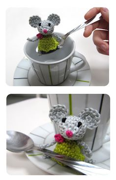 Little mouse finger puppet or pencil topper crochet tutorial (in Dutch) - Inge Snuffel - use google translate