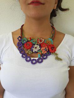 Flower crochet necklace- Freeform Beaded Crochet Necklace- crochet…