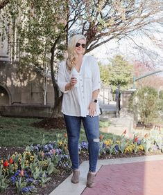 ShopStyle Look by cristincooper featuring Lucky Brand Fayth Ankle Booties Women Shoes and Jolin Deep-V Raw-Seam Blouse Layering Outfits, Simple Outfits, Casual Outfits, Night Outfits, Fall Outfits, Summer Outfits, Size 16 Fashion, Womens Fashion, Slide On Sneakers