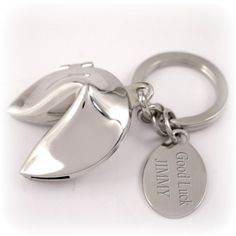Fortune Cookie Key Chain - makes a great stocking stuffer! Engraved Wedding Gifts, Personalized Graduation Gifts, Engraved Gifts, Personalized Items, Fortune Cookie, Inspirational Gifts, Custom Engraving, Stocking Stuffers, Affirmations