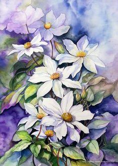 Acrylic Flowers, Watercolor Flowers, Watercolor Negative Painting, Environmental Art, Botanical Art, Watercolor Illustration, Lovers Art, Bunt, Art Drawings