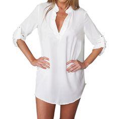 Compra Tamaño ZANZEA Plus mujeres con cuello en V gasa larga de la manga Tops blusa suelta la camiseta mini vestido blanco online | Linio Colombia