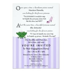 Fairy Tale Fun Engagement Party 5x7 Invitation - tap to personalize and get yours  #engagement #party #invitations #funny #engagement Wedding Shower Invitations, Engagement Party Invitations, Custom Invitations, Engagement Humor, Wedding Engagement, Song Notes, Heart Songs, Getting Engaged, Envelope Liners