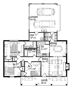 Home Plans HOMEPW20966 - 1,148 Square Feet, 3 Bedroom 2 Bathroom Country Home with 1 Garage Bay