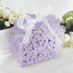 Lavender Butterfly Favor Box.