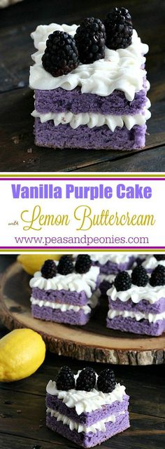 Vanilla Purple Cake with Lemon Buttercream is cut into mini individual cakes decorated with fresh blackberries, for a beautiful and tasty dessert - Peas and Peonies
