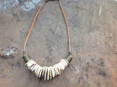 Tribal Statement Necklace with Graduated  Rondel Disc Gemstone Beads and Leather by simplepleasurestx on Etsy https://www.etsy.com/listing/208550711/tribal-statement-necklace-with-graduated