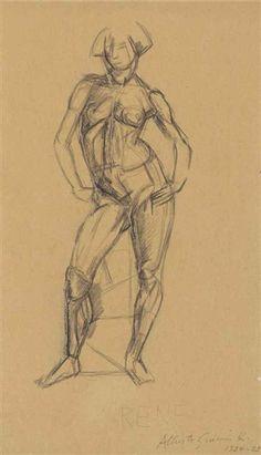 Alberto Giacometti - Nu debout, 1924, pencil on... on MutualArt.com