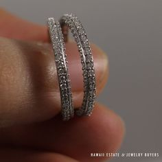 """See more #vintage #jewelry #vintagejewelry on our website (link in bio!) MATCHING #DIAMOND """"GUARD"""" 14K WHITE GOLD #BAND #RINGS (SZ 5.25)"""