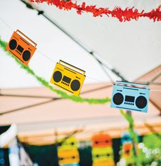 boom box bunting for a rock star party