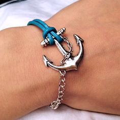 Ocean Blue Leather  Bracelet  With  Anchor charm por pier7craft