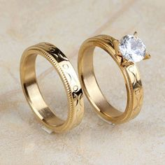1 of Women's Stainless Steel Gold Cut CZ Wedding Engagement Rings Band Set Size 7 8 9 Engagement Rings Couple, Three Stone Engagement Rings, Engagement Wedding Ring Sets, Wedding Ring Sets Unique, Wedding Rings For Women, Couple Ring Design, Ring Pillow Wedding, Stainless Steel, Fashion Rings