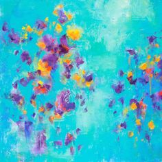Turquoise abstract original painting large wall art by GalleryZen