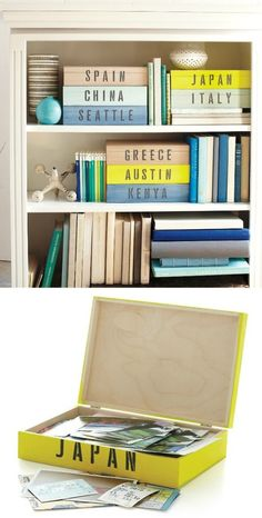 Organizing souviners from vacations!! great idea and doesnt look bad on a shelf or in a closet!