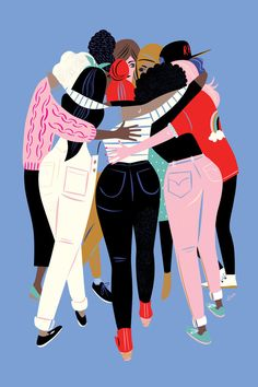 Love this women inspiring women illustration from Libby Vanderploeg. Her illustrations always capture an essence of something we can't always find the words to say, so she illustrates them instead. Art And Illustration, Friends Illustration, Girl Illustrations, Illustrator Design, City Poster, Feminist Art, Feminist Quotes, Girl Gang, Ladies Day