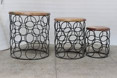 Set of 3 side tables by MarigoldImports on Etsy