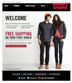 Levi's #WelcomeEmail | welcome | WelcomeEmails | emailmarketing | email | newsletter | welcome newsletter | welcome email | WelcomeEmail | relationship emails | emailDesign