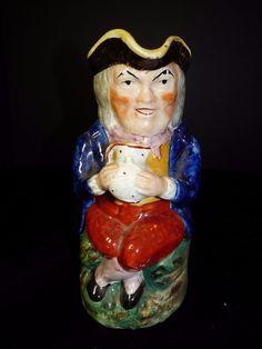 c 1880 TOBY JUG English STAFFORDSHIRE Soft Paste HAT LID Mug Pearlware Sponge #Victorian #RalphWoodStyle
