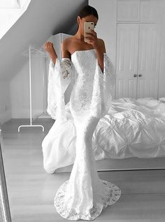 Prom Dress For Teens, Mermaid Strapless Sweep Train Long Bell Sleeves Ivory Lace Prom Dress, cheap prom dresses, beautiful dresses for prom. Best prom gowns online to make you the spotlight for special occasions. Strapless Prom Dresses, Prom Dresses 2017, Long Wedding Dresses, Mermaid Prom Dresses, Formal Evening Dresses, Dress Formal, Party Dresses, Lace Wedding, Long Dresses
