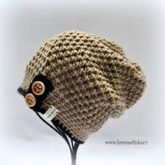 Dospělácká homeleska Tulip – Krampolínka Crochet Kids Hats, Love Crochet, Crochet Clothes, Spring Hats, Slouchy Hat, Dark Denim, Baby Hats, Hand Embroidery, Homemade